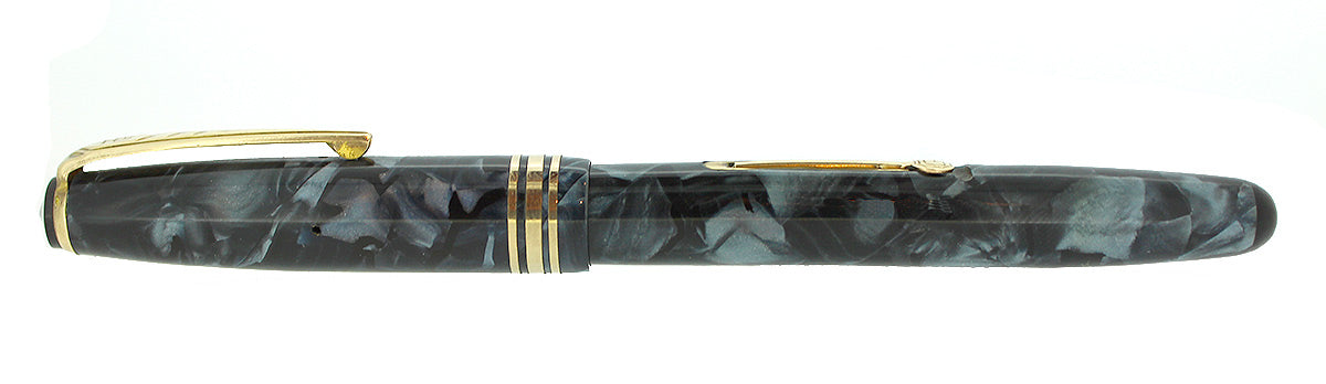 CIRCA 1955 ONOTO DE LA RUE BLUE MARBLED FOUNTAIN PEN ORIG BOX M-BBB FLEX NIB RESTORED OFFERED BY ANTIQUE DIGGER