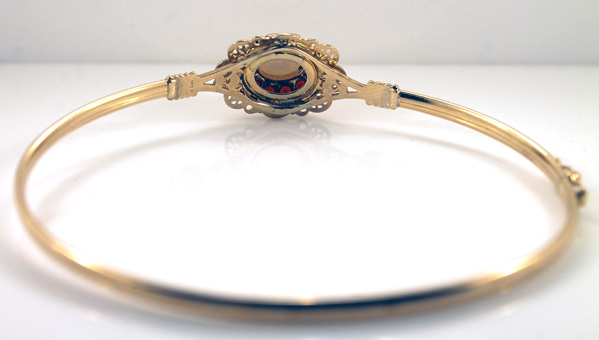 10K YELLOW GOLD OPAL & GARNET JEWELED BANGLE BRACELET VINTAGE ESTATE JEWELRY OFFERED BY ANTIQUE DIGGER