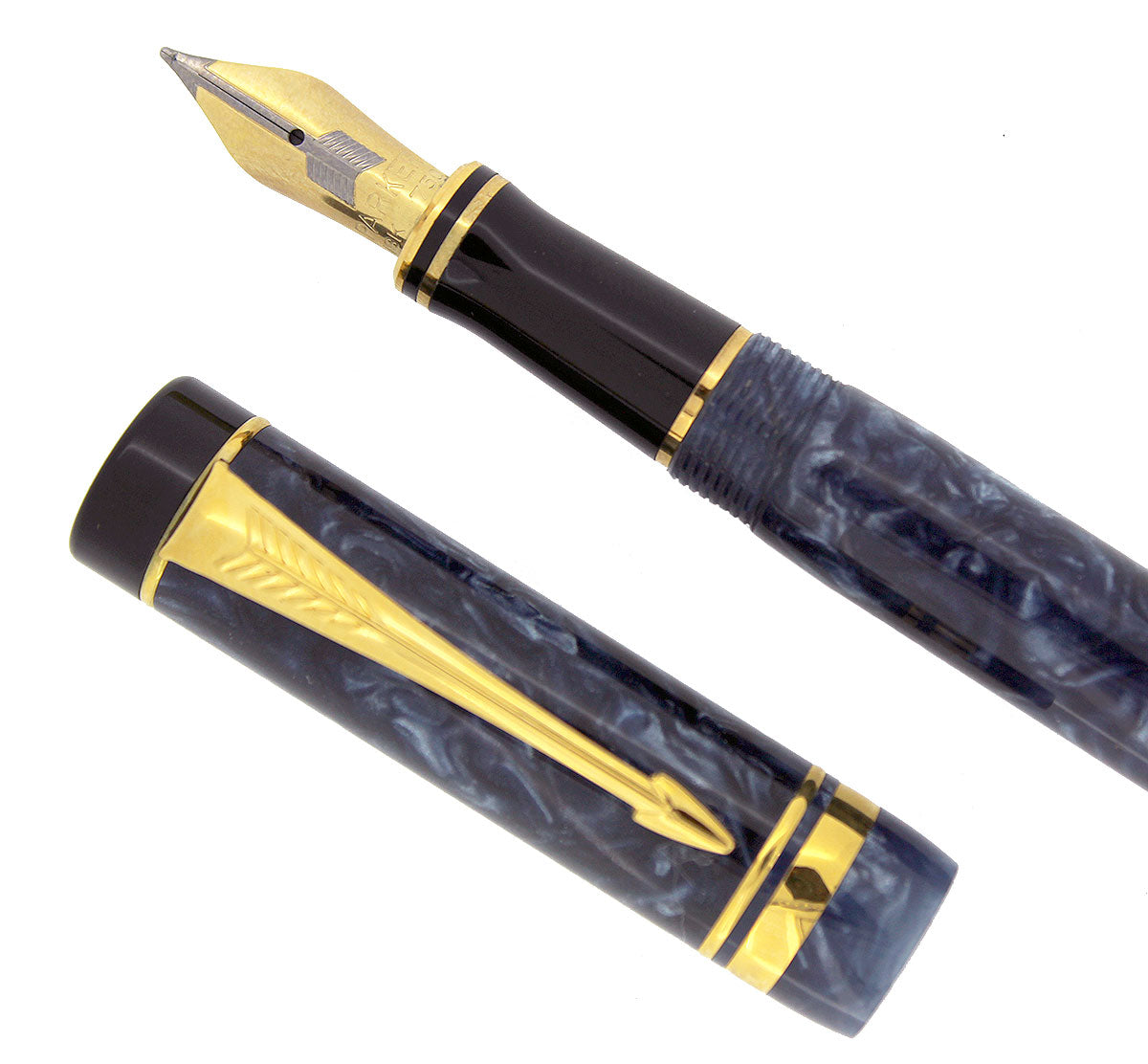 1990 DUOFOLD INTERNATIONAL BLUE MARBLE FOUNTAIN PEN 18K MEDIUM NIB MINT OFFERED BY ANTIQUE DIGGER