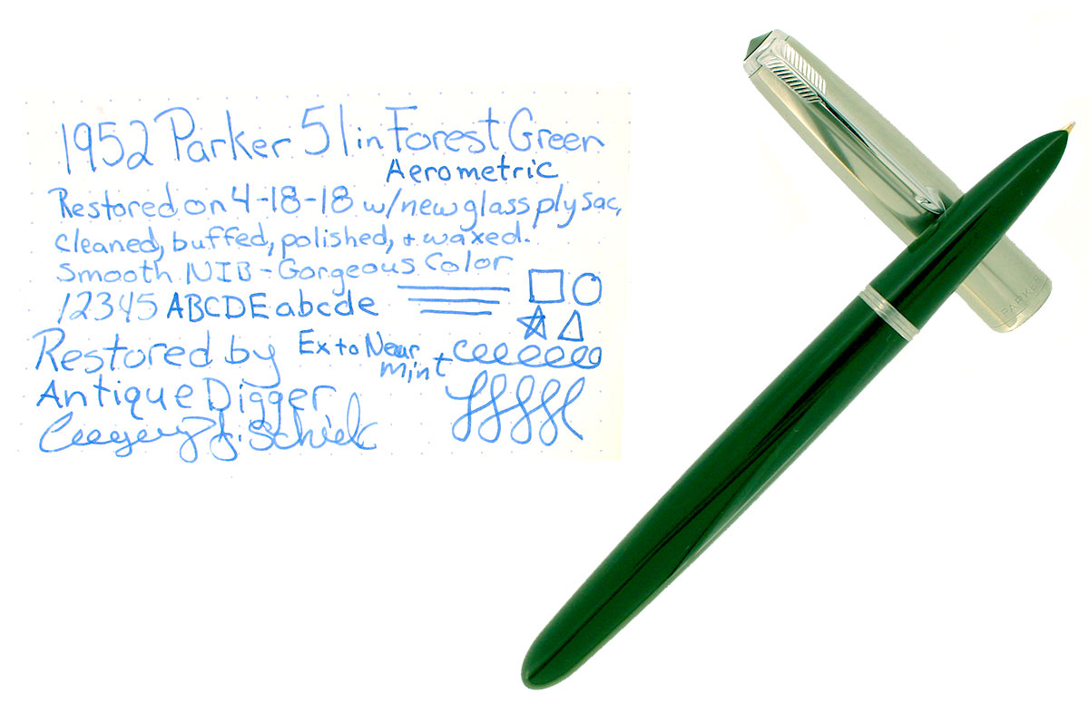 1952 PARKER 51 FOREST GREEN AEROMETRIC FOUNTAIN PEN MEDIUM NIB RESTORED OFFERED BY ANTIQUE DIGGER
