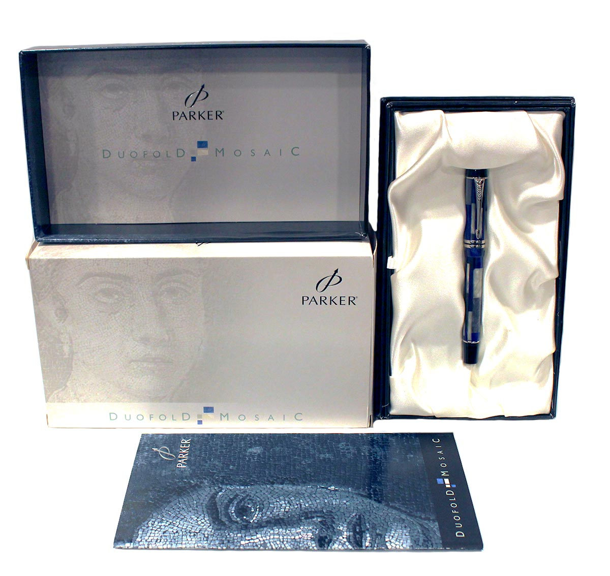 2011 PARKER DUOFOLD INTERNATIONAL BLUE MOSAIC FOUNTAIN PEN 18K NIB NEW IN BOX OFFERED BY ANTIQUE DIGGER
