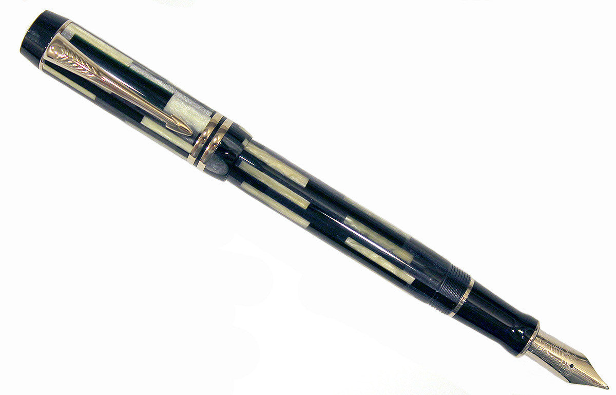 Parker Duofold Centennial Black Mosaic Fountain Pen New In Box With Medium NIB