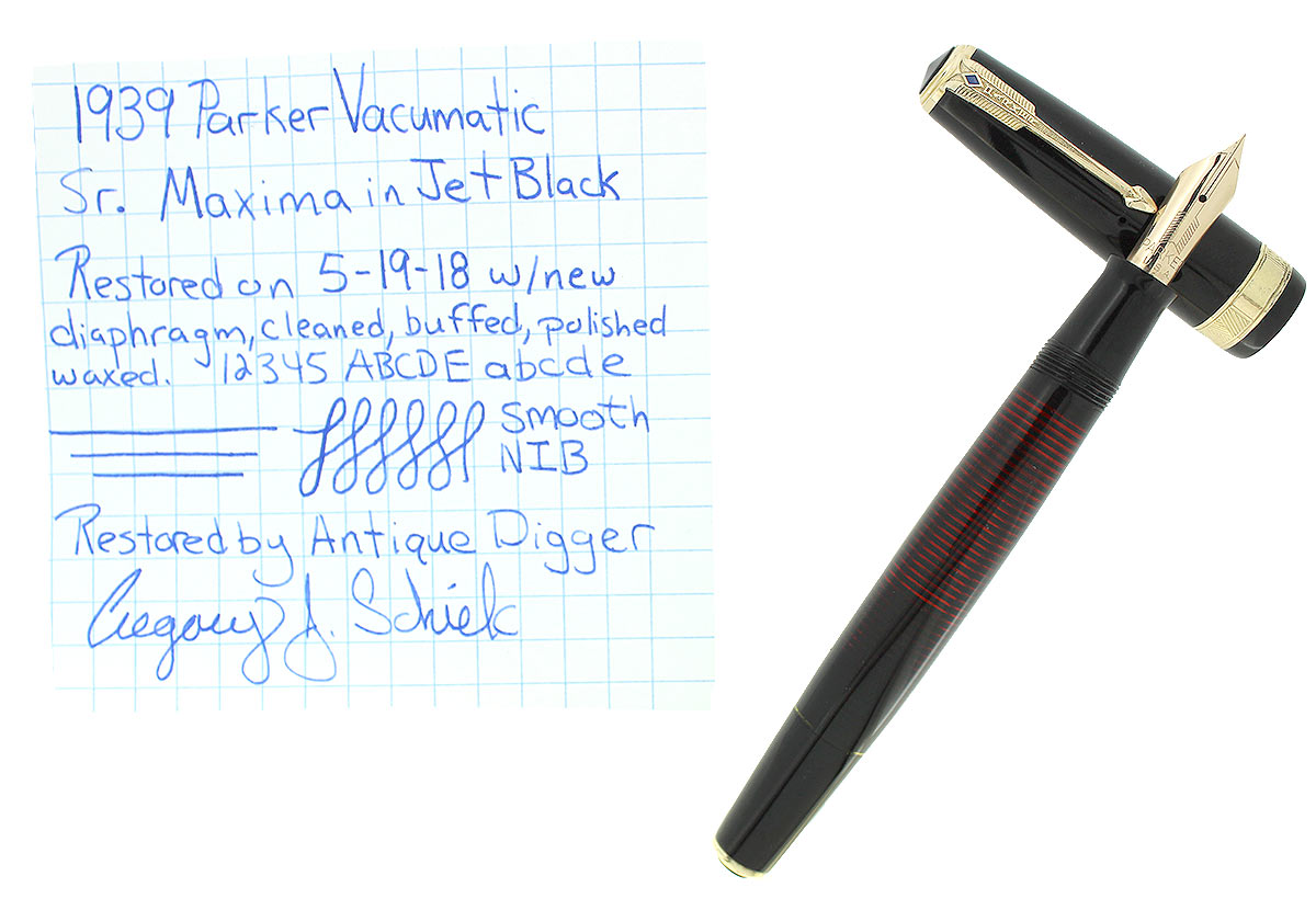 1939 PARKER JET BLACK SENIOR MAXIMA VACUMATIC FOUNTAIN PEN RESTORED OFFERED BY ANTIQUE DIGGER