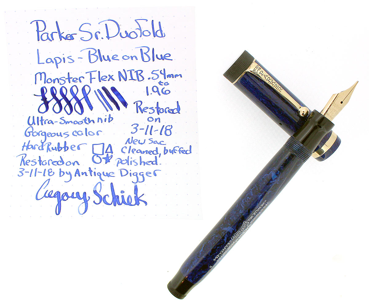 CIRCA 1927 PARKER SENIOR DUOFOLD BLUE ON BLUE LAPIS FOUNTAIN PEN F - BBB FLEX NIB OFFERED BY ANTIQUE DIGGER