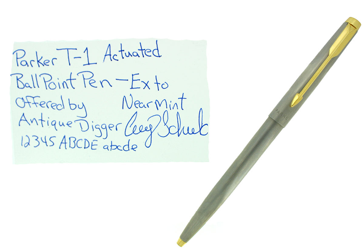 SCARCE 1970S PARKER T-1 TITANIUM ACTUATED BALLPOINT PEN NEAR MINT CONDITION OFFERED BY ANTIQUE DIGGER