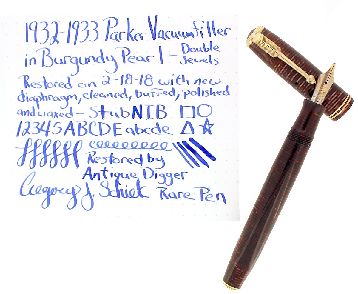 1932-1933 PARKER VACUUM-FILLER BURGUNDY PEARL FOUNTAIN PEN STUB NIB RESTORED OFFERED BY ANTIQUE DIGGER