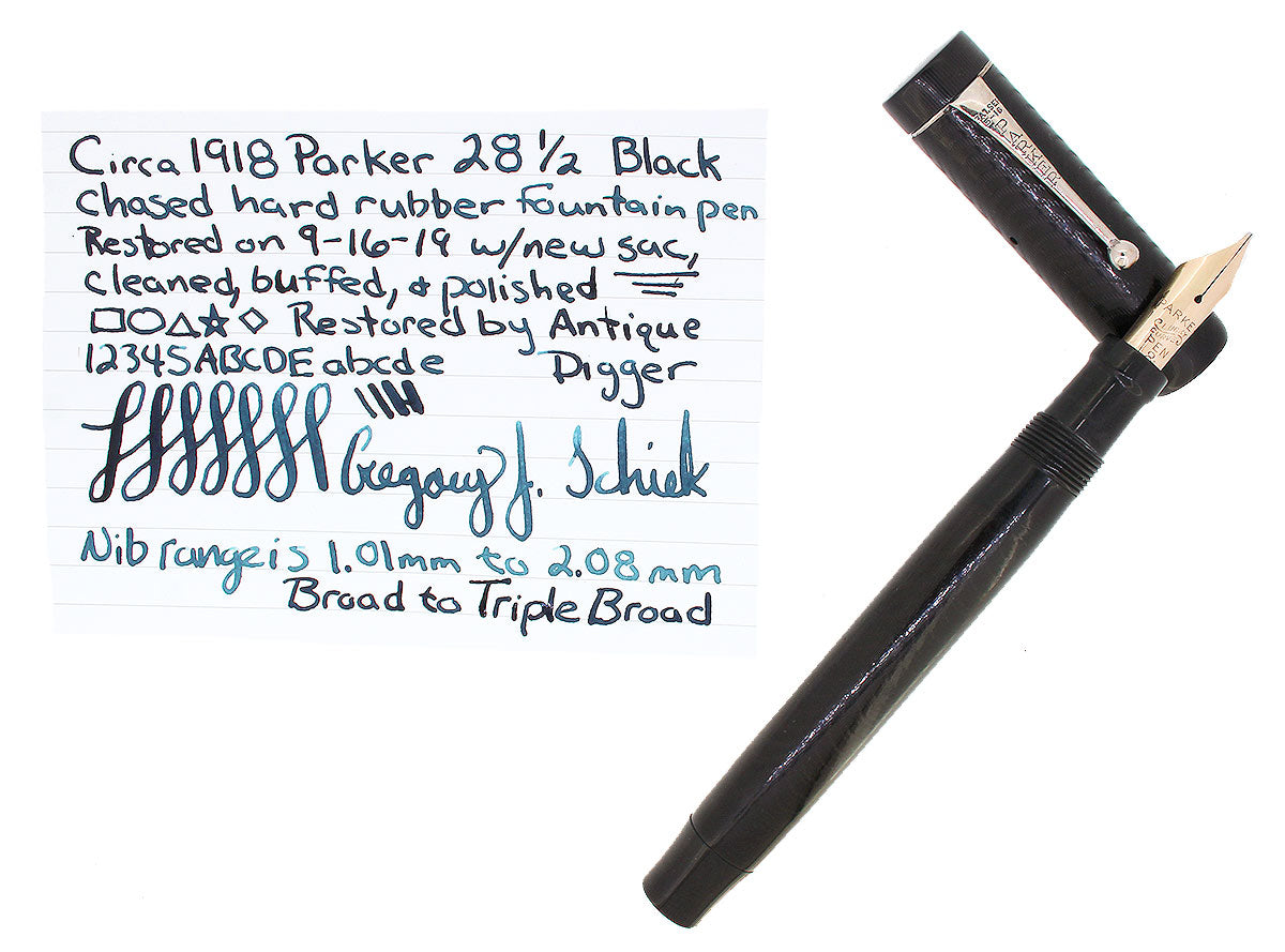 CIRCA 1917 PARKER 28 1/2 JACK KNIFE SAFETY FOUNTAIN PEN 14K B-BBB 2.08MM NIB RESTORED OFFERED BY ANTIQUE DIGGER