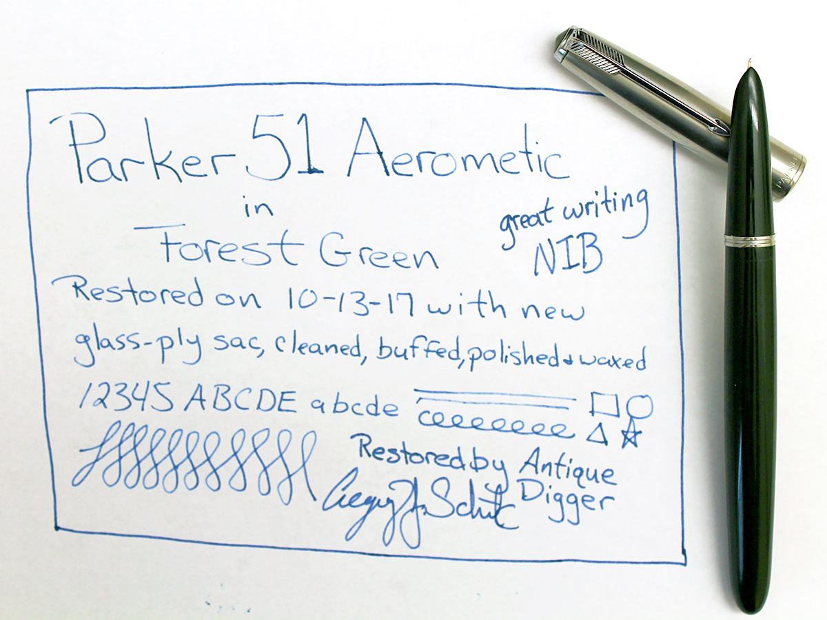 RESTORED 1948 PARKER 51 AEROMETRIC FOUNTAIN PEN IN FOREST GREEN WITH LUSTRALOY CAP OFFERED BY ANTIQUE DIGGER