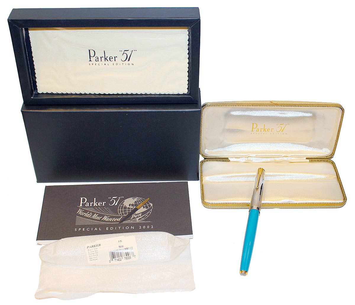 PARKER 51 SPECIAL EDITION BLUE FOUNTAIN PEN EMPIRE CAP NEW OLD STOCK MINT IN BOX OFFERED BY ANTIQUE DIGGER