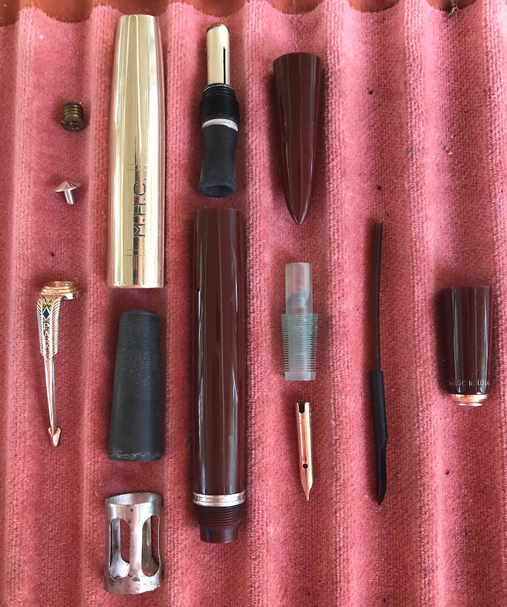 RESTORED 1941 PARKER 51 DOUBLE JEWEL FIRST YEAR CORDOVAN BROWN FOUNTAIN PEN OFFERED BY ANTIQUE DIGGER