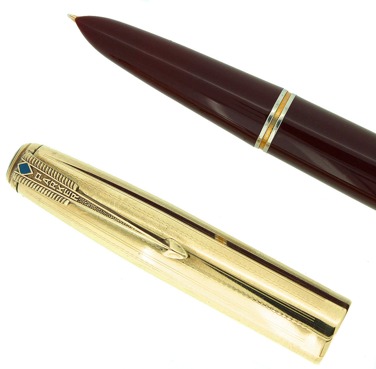 1941 PARKER 51 DOUBLE JEWEL FIRST YEAR CORDOVAN BROWN FOUNTAIN PEN RESTORED OFFERED BY ANTIQUE DIGGER