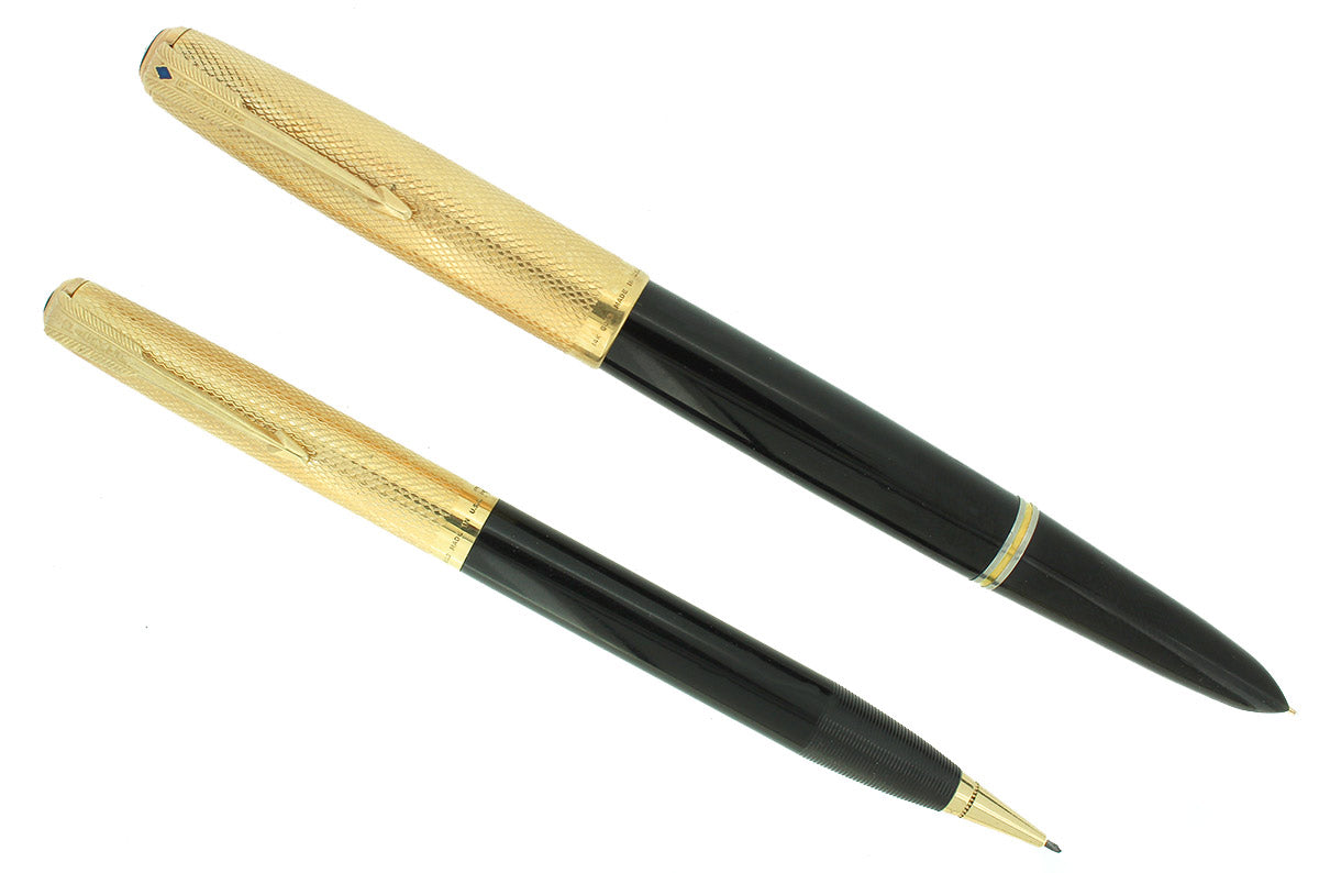 RARE 1946 PARKER 51 SOLID 14K GOLD HEIRLOOM FISHSCALE CAPS FOUNTAIN PEN AND PENCIL SET RESTORED OFFERED BY ANTIQUE DIGGER