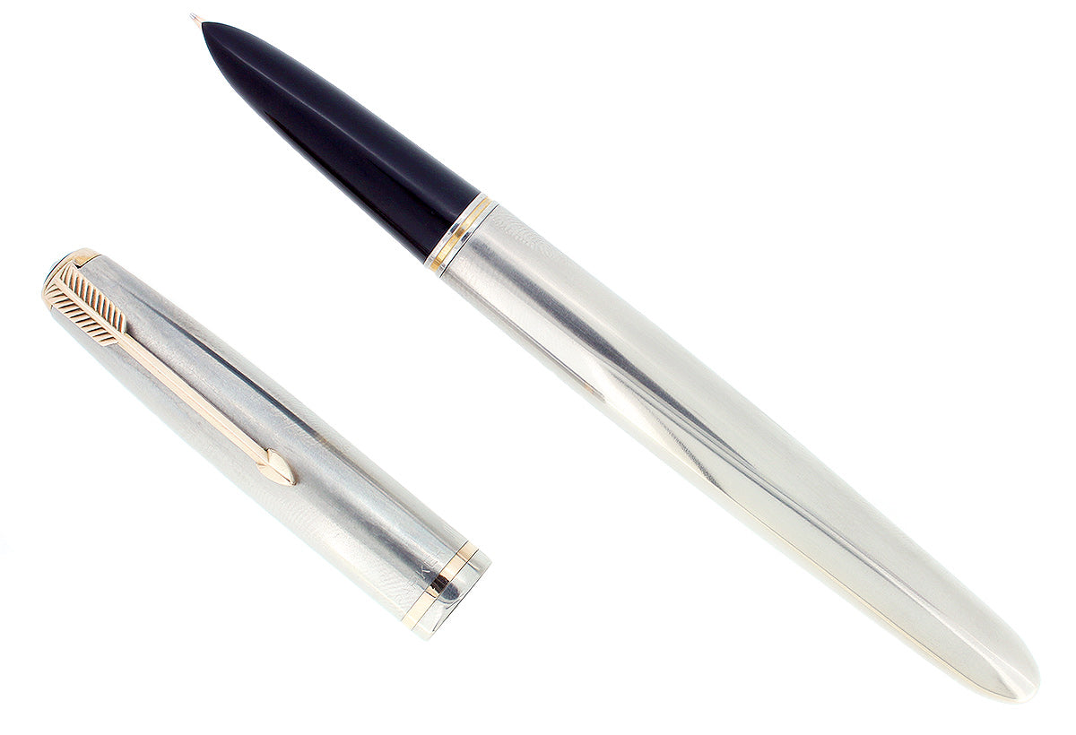 1952 PARKER 51 FLIGHTER AEROMETRIC FOUNTAIN PEN STAINLESS STEEL M NIB RESTORED OFFERED BY ANTIQUE DIGGER