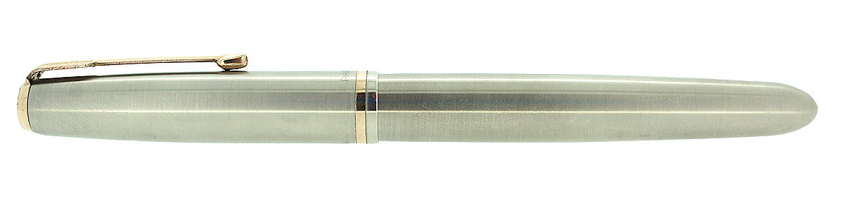 CIRCA 1950 PARKER 51 FLIGHTER AEROMETRIC FOUNTAIN PEN STAINLESS STEEL RESTORED OFFERED BY ANTIQUE DIGGER