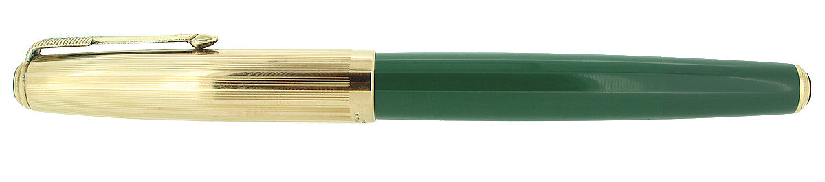 1947 PARKER 51 DOUBLE JEWEL NASSAU GREEN FOUNTAIN PEN RESTORED OFFERED BY ANTIQUE DIGGER