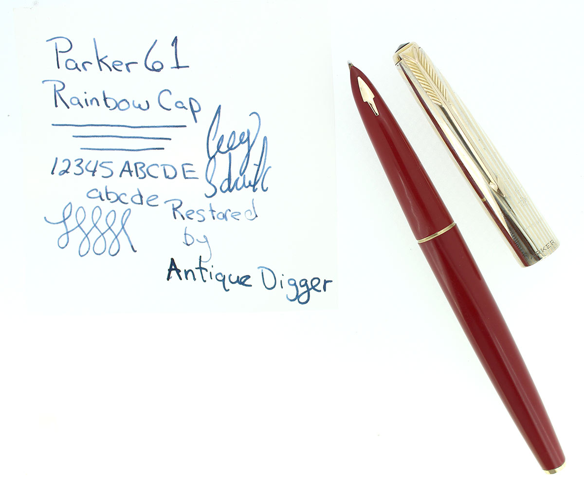 PARKER 61 FOUNTAIN PEN WITH RAINBOW CAP WITH BOX IN RESTORED CONDITION OFFERED BY ANTIQUE DIGGER