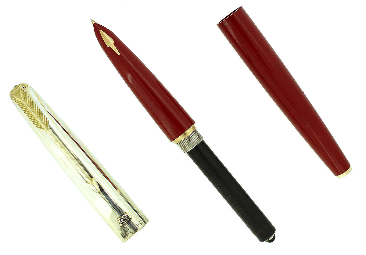 1956 PARKER 61 HERITAGE 1ST EDITION RAGE RED FOUNTAIN PEN RAINBOW CAP NOS MINT IN BOX OFFERED BY ANTIQUE DIGGER