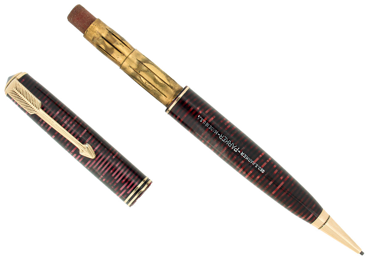 CIRCA 1934 PARKER VACUMATIC BURGUNDY PEARL STANDARD MECHANICAL PENCIL RESTORED OFFERED BY ANTIQUE DIGGER