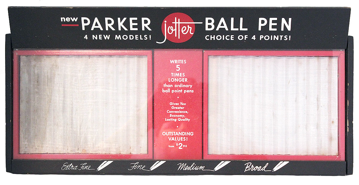 CIRCA 1960s PARKER JOTTER COUNTERTOP ADVERTISING DISPLAY CASE GLASS FRONT OFFERED BY ANTIQUE DIGGER