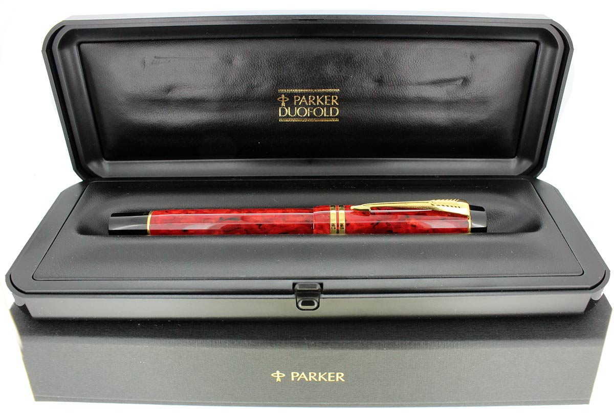 1997 PARKER DUOFOLD CENTENNIAL JASPER FOUNTAIN PEN 18K MEDIUM NIB NEW IN BOX OFFERED BY ANTIQUE DIGGER
