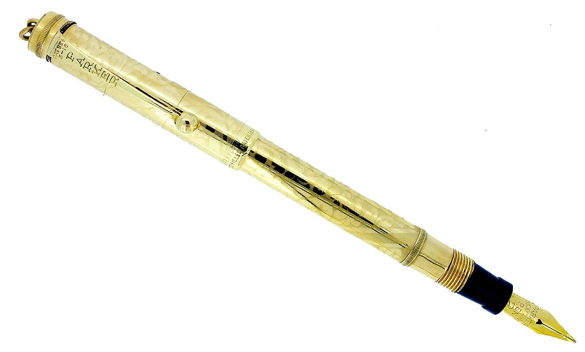 1920s PARKER LUCKY CURVE #98 OVERLAY FLORAL ETCHED FOUNTAIN PEN RESTORED OFFERED BY ANTIQUE DIGGER
