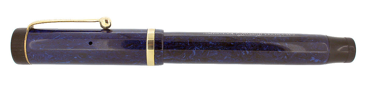 CIRCA 1927 PARKER SR DUOFOLD BLUE ON BLUE LAPIS FOUNTAIN PEN F-M NIB RESTORED OFFERED BY ANTIQUE DIGGER