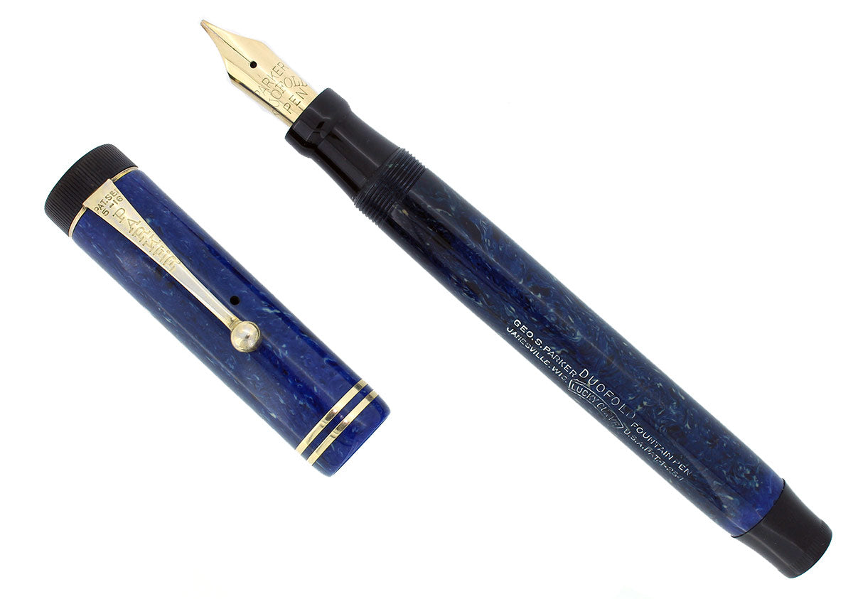 CIRCA 1928 PARKER SR DUOFOLD BLUE ON WHITE LAPIS FOUNTAIN PEN RESTORED OFFERED BY ANTIQUE DIGGER