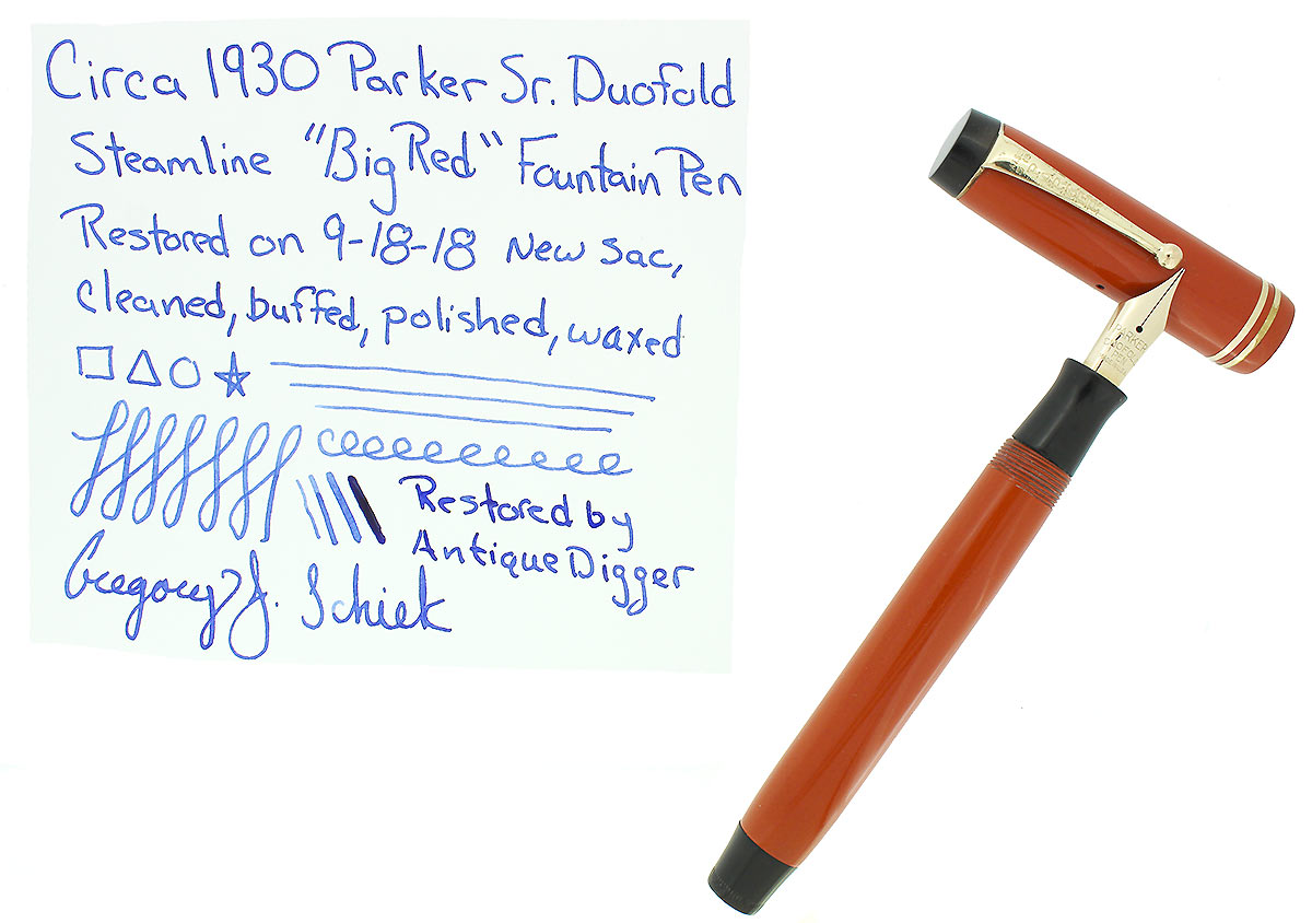 CIRCA 1930 PARKER DUOFOLD SENIOR STREAMLINE RED DUOFOLD FOUNTAIN PEN RESTORED OFFERED BY ANTIQUE DIGGER