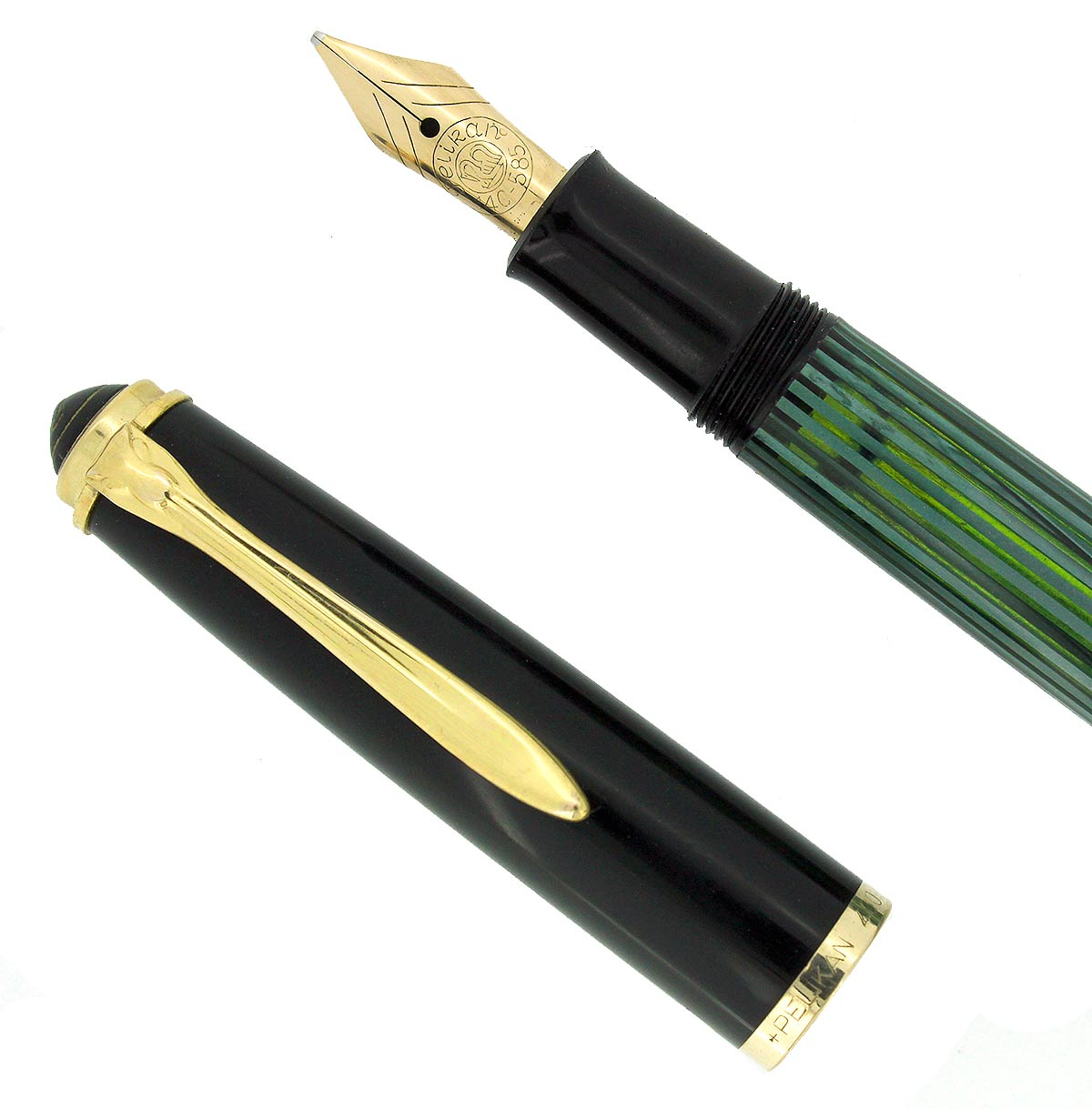 CIRCA 1950s PELIKAN 400NN FOUNTAIN PEN GREEN STRIATED CELLULOID B-BBB NIB RESTORED OFFERED BY ANTIQUE DIGGER