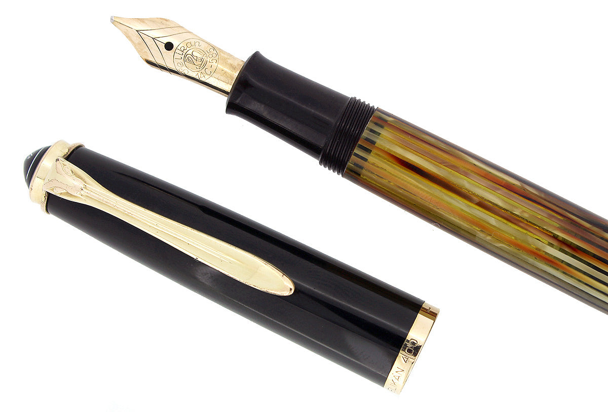 1950S PELIKAN 400NN FOUNTAIN PEN TORTOISE STRIATED CELLULOID OBLIQUE BROAD NIB RESTORED OFFERED BY ANTIQUE DIGGER