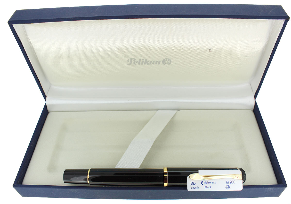 PELIKAN M200 BLACK FOUNTAIN PEN MED NIB NEW OLD STOCK STICKERED NEVER INKED OFFERED BY ANTIQUE DIGGER