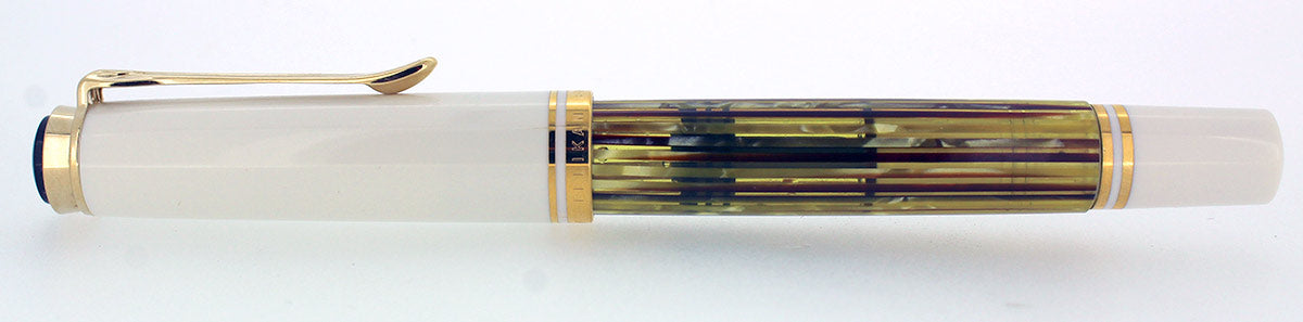 PELIKAN M400 SOUVERAN WHITE TORTOISE FOUNTAIN PEN MED NIB NEW IN BOX NEVER INKED OFFERED BY ANTIQUE DIGGER
