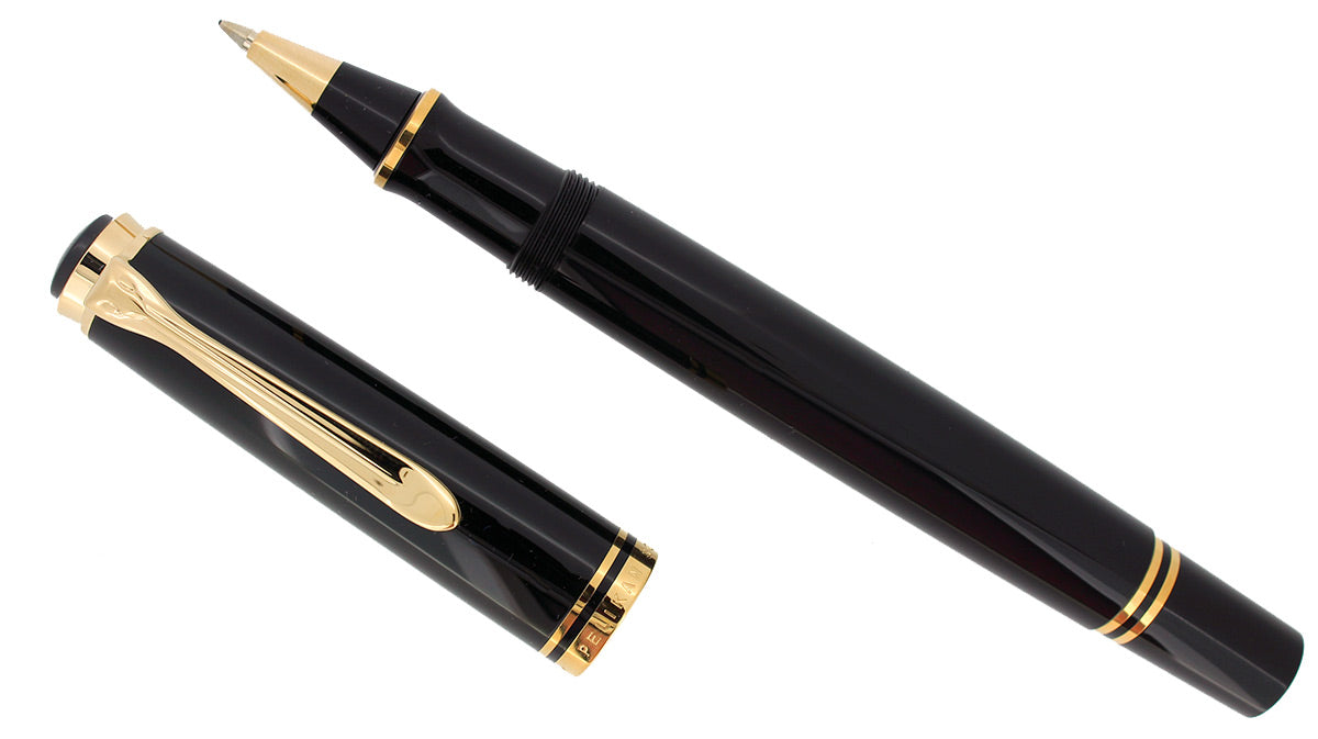 PELIKAN R600 SOVEREIGN  BLACK ROLLERBALL PEN GOLD TRIM NEW IN BOX NEW OLD STOCK OFFERED BY ANTIQUE DIGGER
