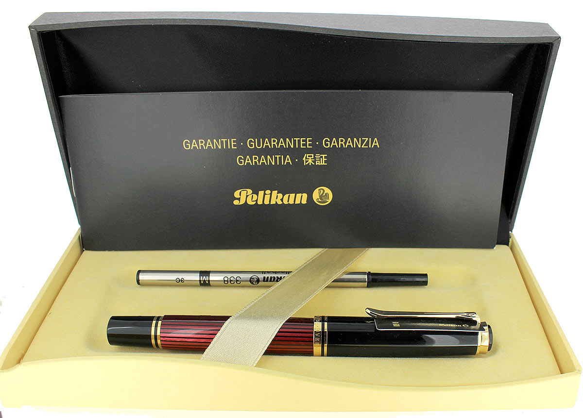 PELIKAN R600 SOVEREIGN RED & BLACK ROLLERBALL PEN GOLD TRIM NEW IN BOX NEW OLD STOCK OFFERED BY ANTIQUE DIGGER