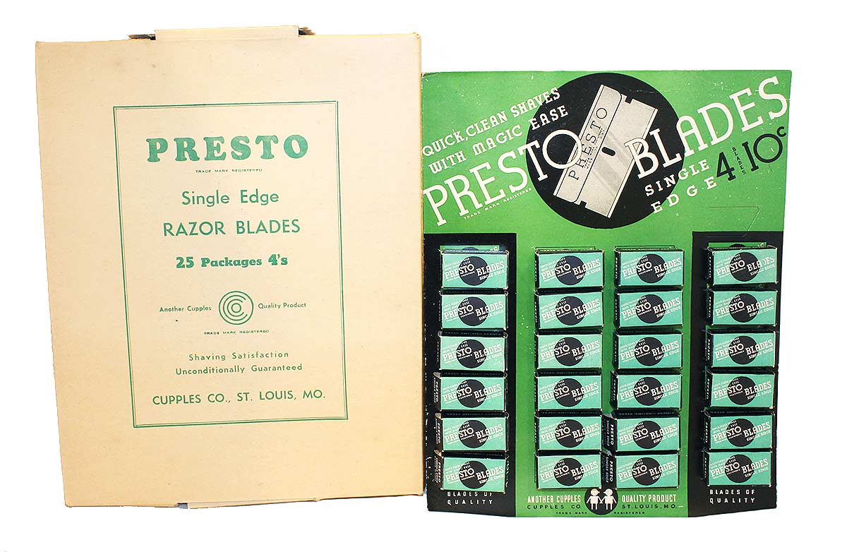 1930s PRESTO SINGLE EDGE RAZOR COUNTERTOP ADVERTISING STORE DISPLAY OFFERED BY ANTIQUE DIGGER