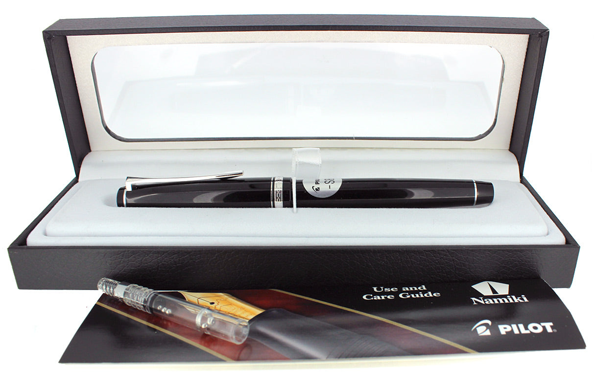 MINT PILOT NAMIKI FALCON 14K BROAD NIB FOUNTAIN PEN BLACK/RHODIUM W/BOX STICKERED OFFERED BY ANTIQUE DIGGER
