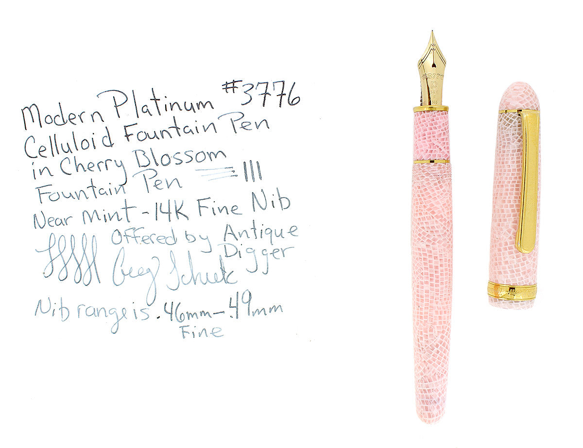 PLATINUM #3776 CELLULOID SAKURA CHERRY BLOSSOM FOUNTAIN PEN 14K F NIB MINT OFFERED BY ANTIQUE DIGGER