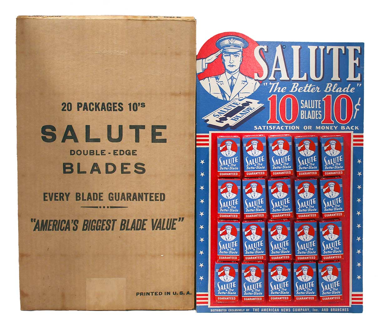 1940s SALUTE THE BETTER BLADE STORE DISPLAY 20 UNUSED BOXES COMPLETE MINT NOS OFFERED BY ANTIQUE DIGGER