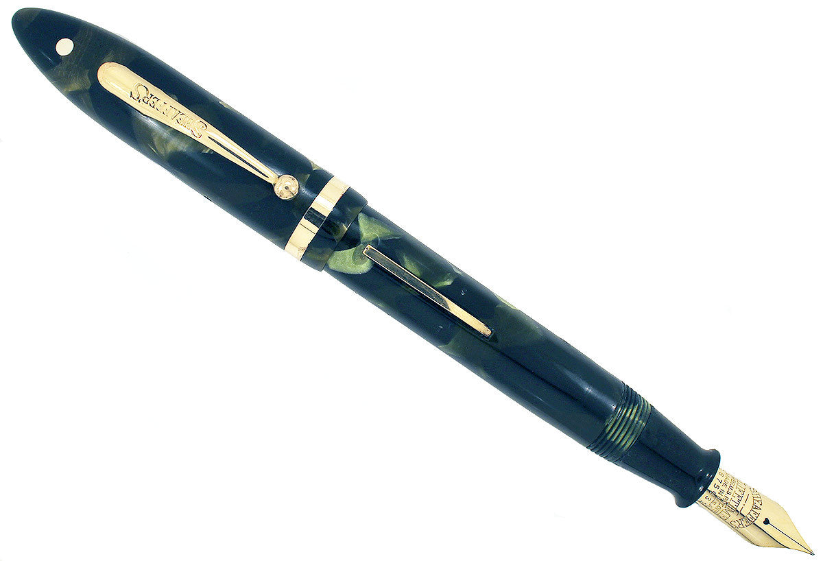 "RESTORED CIRCA 1930 SHEAFFER MARINE GREEN OVERSIZE 5 5/8"" BALANCE FOUNTAIN PEN OFFER BY ANTIQUE DIGGER"