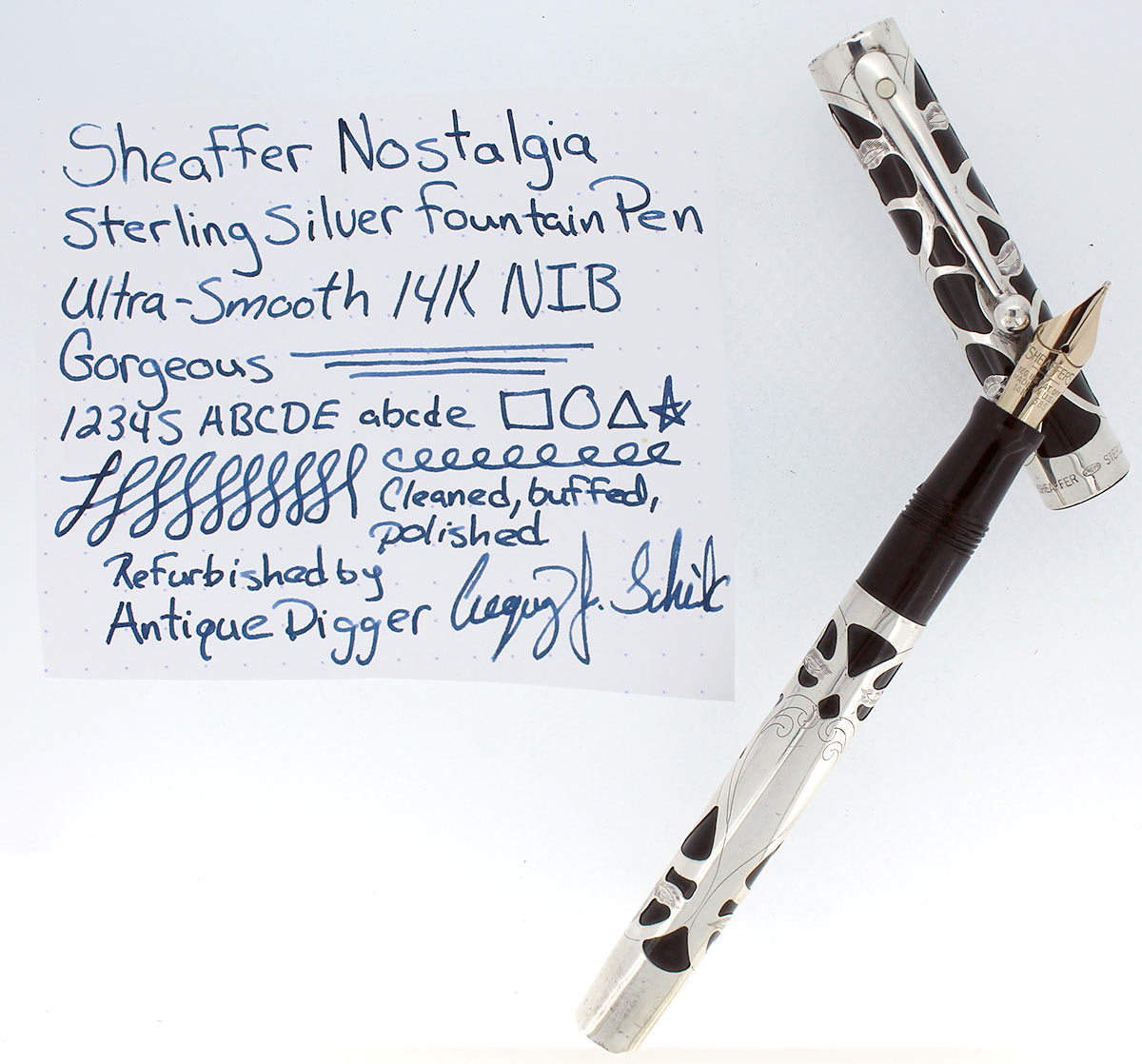 SHEAFFER NOSTALGIA STERLING SILVER FOUNTAIN PEN 14K SMOOTH NIB WITH BOX AND PAPERS OFFERED BY ANTIQUE DIGGER
