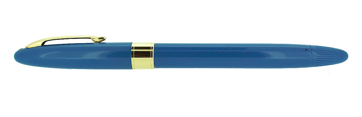 CIRCA 1955 SHEAFFER SNORKEL STATESMAN FOUNTAIN PEN IN PASTEL BLUE AND X4 EXTRA FINE NIB RESTORED OFFERED BY ANTIQUE DIGGER