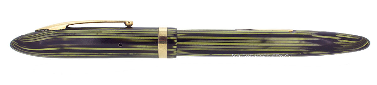 C1936 SHEAFFER LONG SLENDER BALANCE MARINE GREEN STRIATED FOUNTAIN PEN NEAR MINT RESTORED OFFERED BY ANTIQUE DIGGER