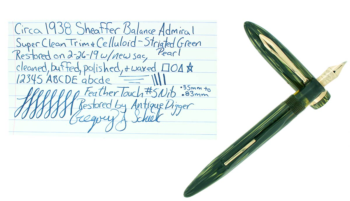 CIRCA 1938 SHEAFFER BALANCE ADMIRAL STRIATED GREEN PEARL FOUNTAIN PEN RESTORED OFFERED BY ANTIQUE DIGGER
