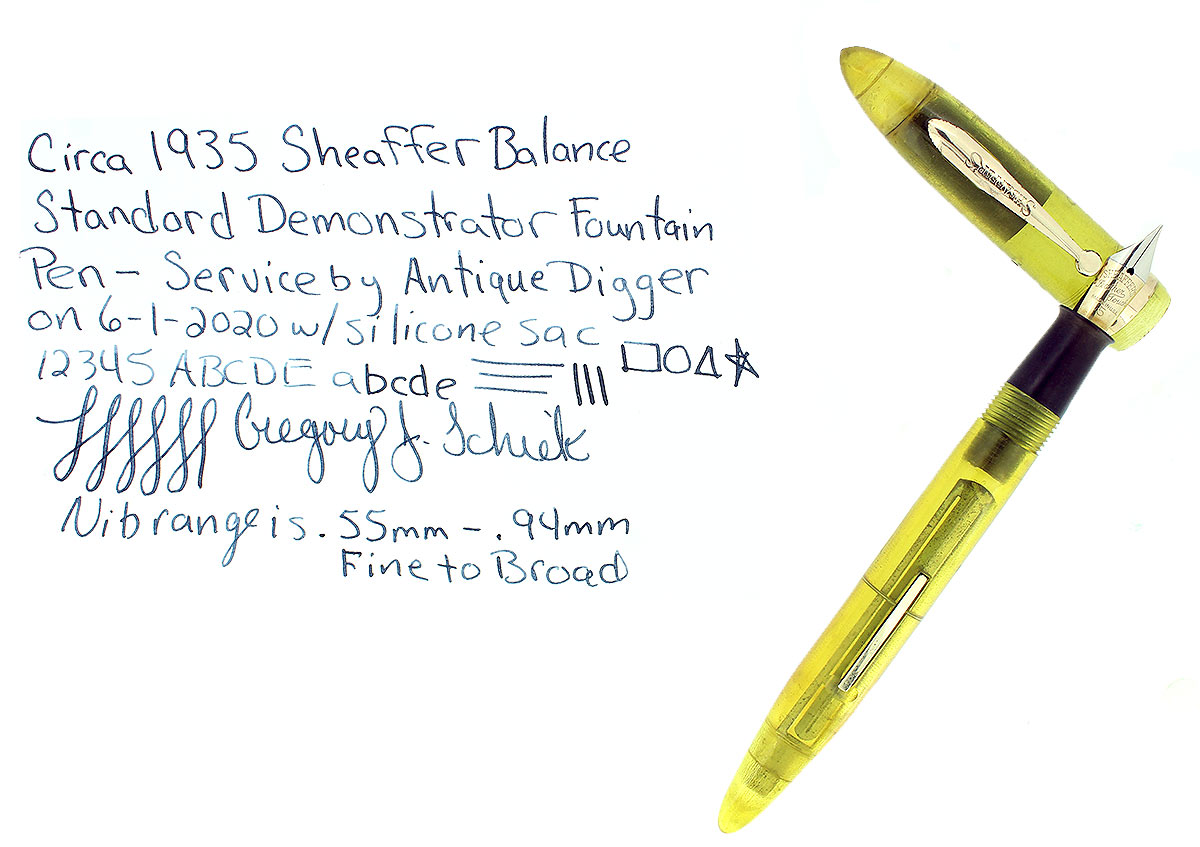 RARE C1935 SHEAFFER STANDARD BALANCE DEMONSTRATOR FOUNTAIN PEN RESTORED OFFERED BY ANTIQUE DIGGER