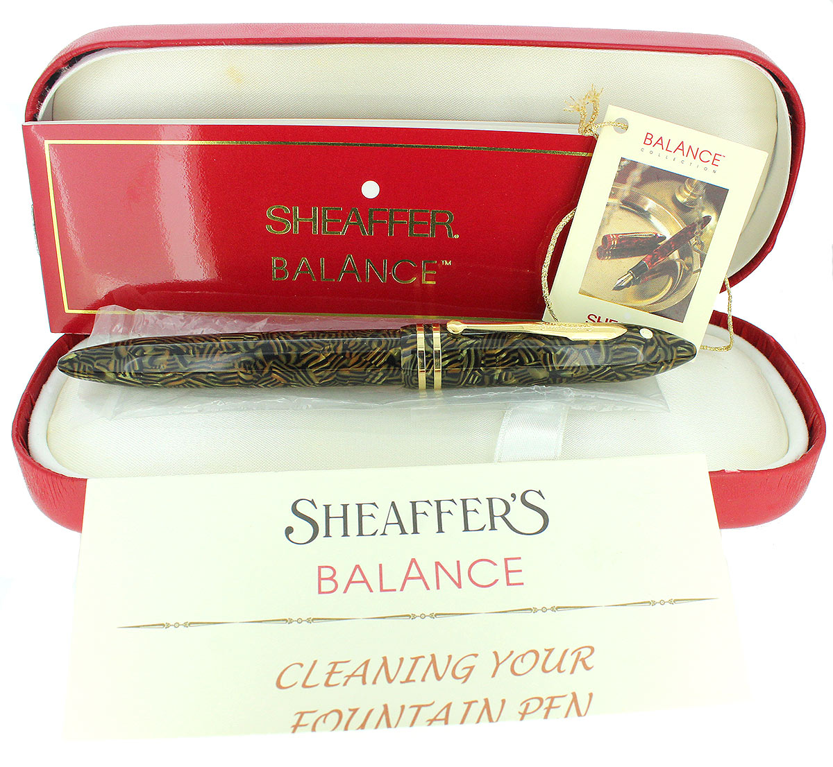 SHEAFFER BALANCE II TIGER EYE FOUNTAIN PEN 18K MED NIB NEVER INKED MINT IN BOX OFFERED BY ANTIQUE DIGGER