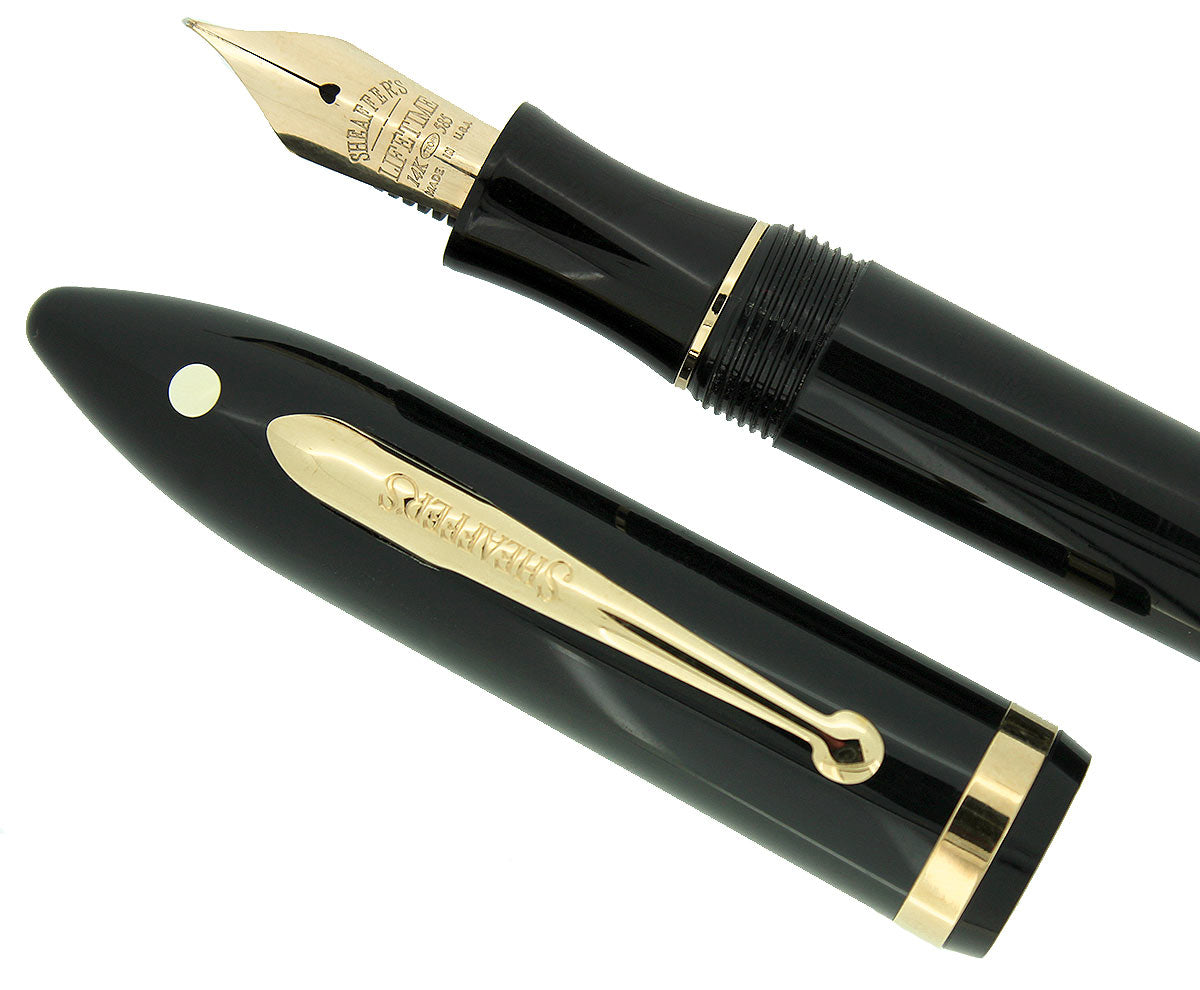 SHEAFFER BALANCE II WHITE DOT JET BLACK NOS MEDIUM 14K NIB FOUNTAIN PEN MINT OFFERED BY ANTIQUE DIGGER