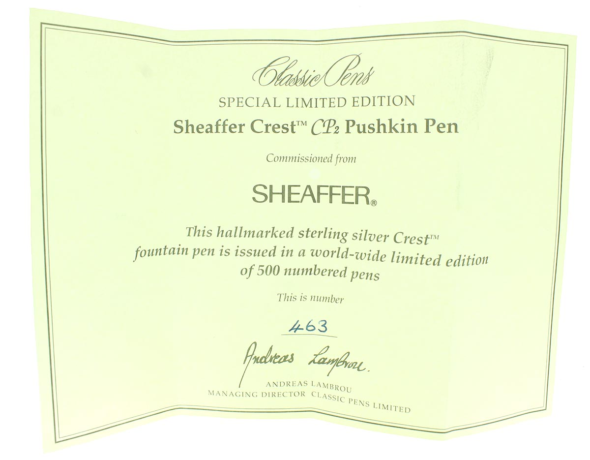 SHEAFFER CREST CP2 LIMITED EDITION 463/500 STERLING SILVER FOUNTAIN PEN MINT NOS OFFERED BY ANTIQUE DIGGER
