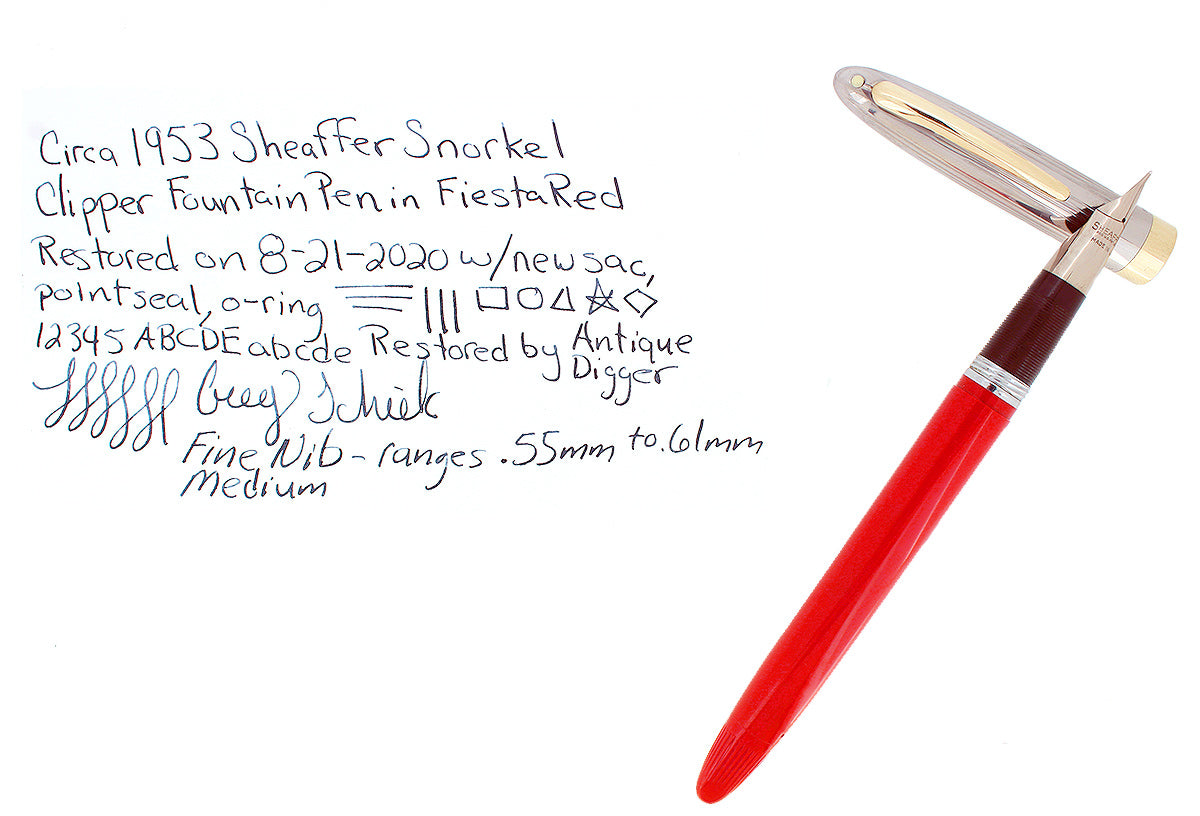 CIRCA 1953 SHEAFFER CLIPPER FIESTA RED SNORKEL F NIB FOUNTAIN PEN RESTORED OFFERED BY ANTIQUE DIGGER