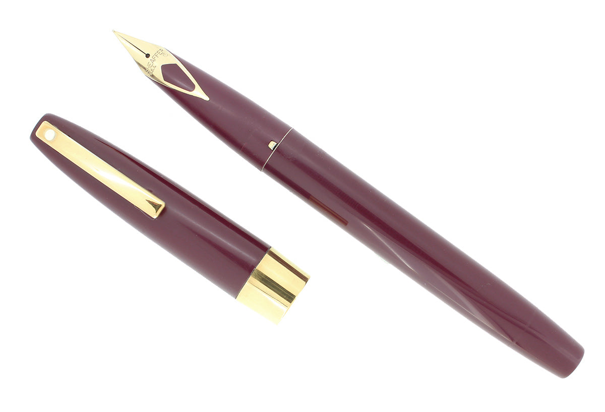 EARLY 1970S SHEAFFER BURGUNDY IMPERIAL 556 FINE NIB FOUNTAIN PEN RESTORED OFFERED BY ANTIQUE DIGGER