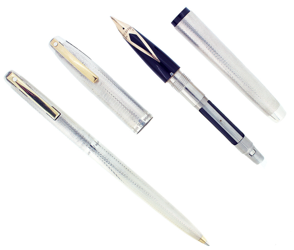 C1972 SHEAFFER STERLING IMPERIAL 826 BARLEY FOUNTAIN PEN & BALLPOINT PEN SET MINT OFFERED BY ANTIQUE DIGGER